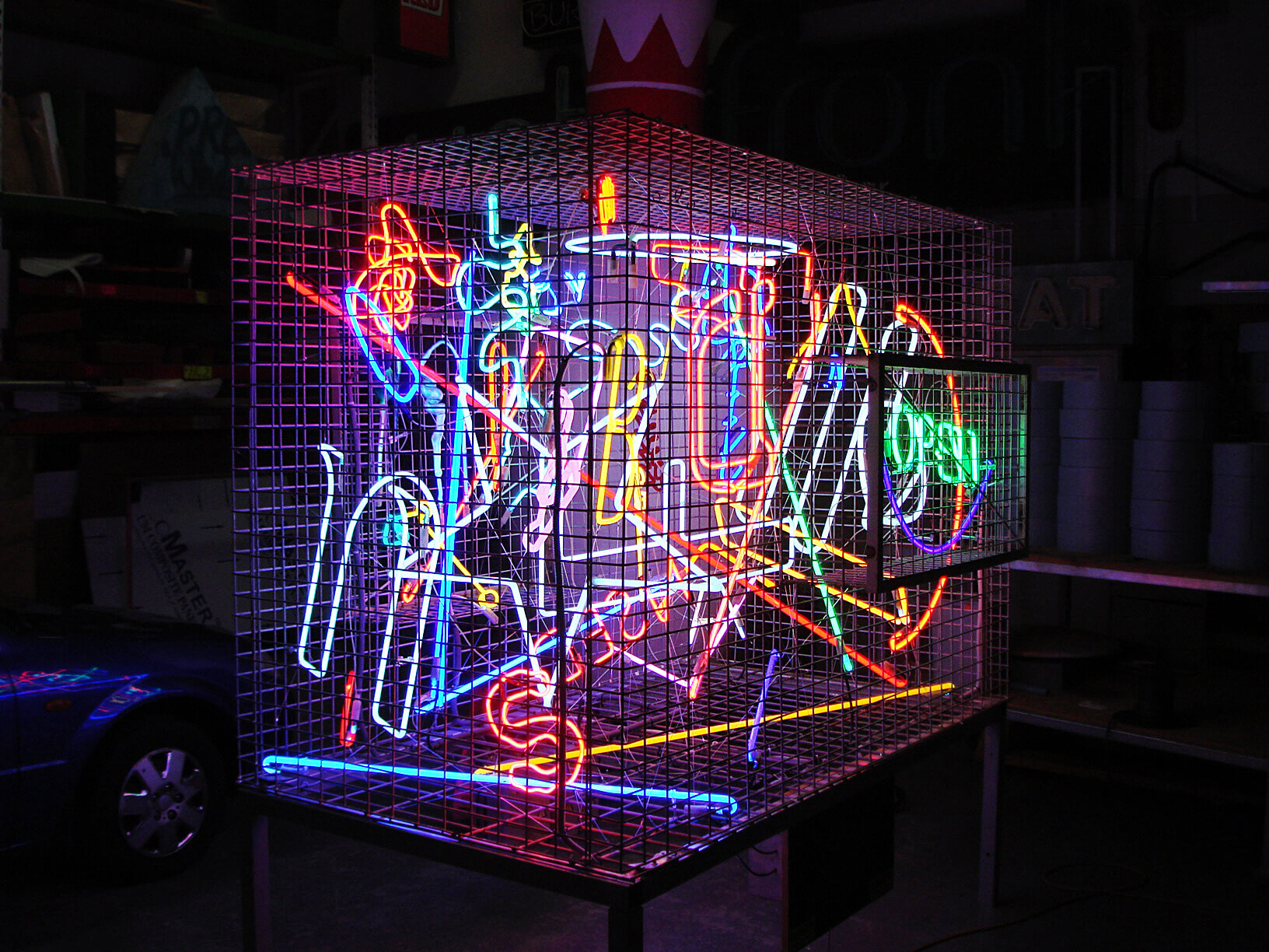 neon room auckland sign installation nz pro tiki project cage company
